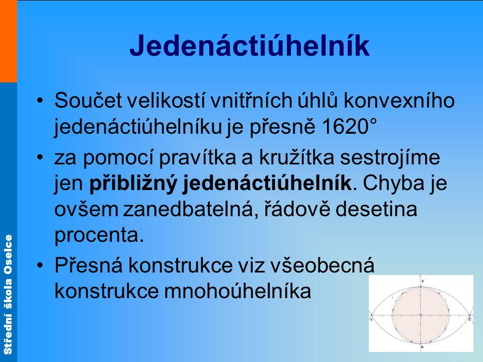 Střední škola Oselce Jedenáctiúhelník •Součet velikostí vnitřních úhlů konvexního jedenáctiúhelníku je přesně 1620° •za pomocí pravítka a kružítka ses