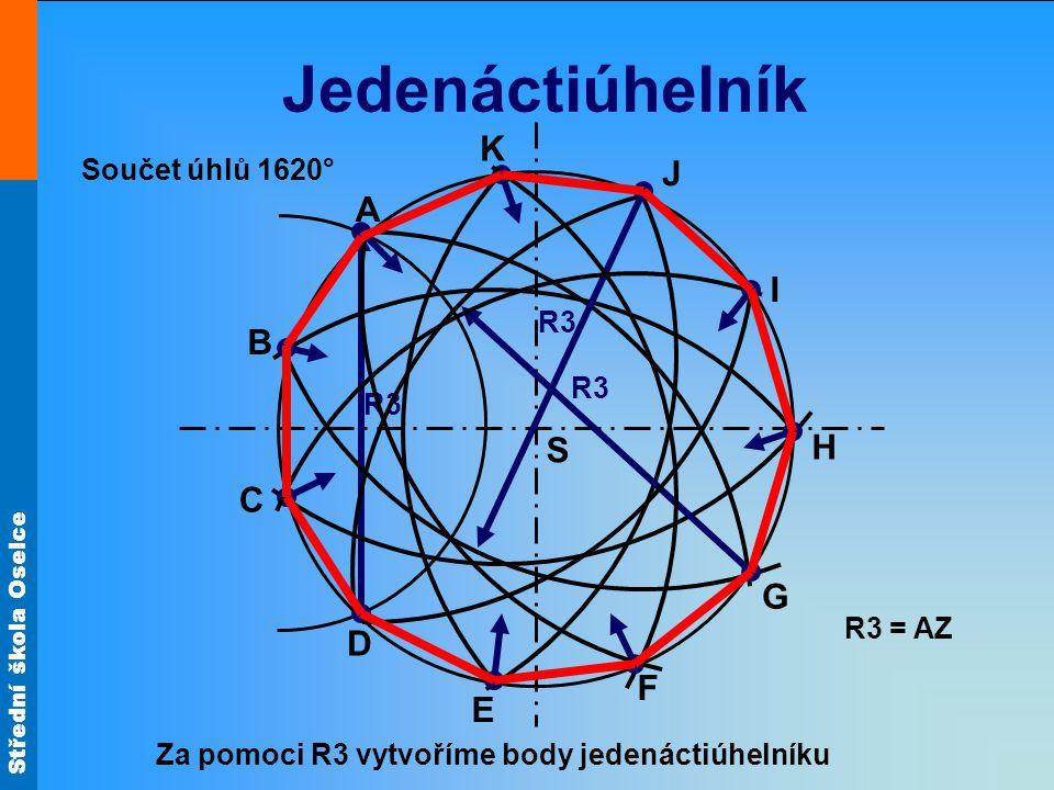Střední škola Oselce Jedenáctiúhelník S A R3 = AZ R3 Za pomoci R3 vytvoříme body jedenáctiúhelníku R3 B C D E F G H I J K Součet úhlů 1620°