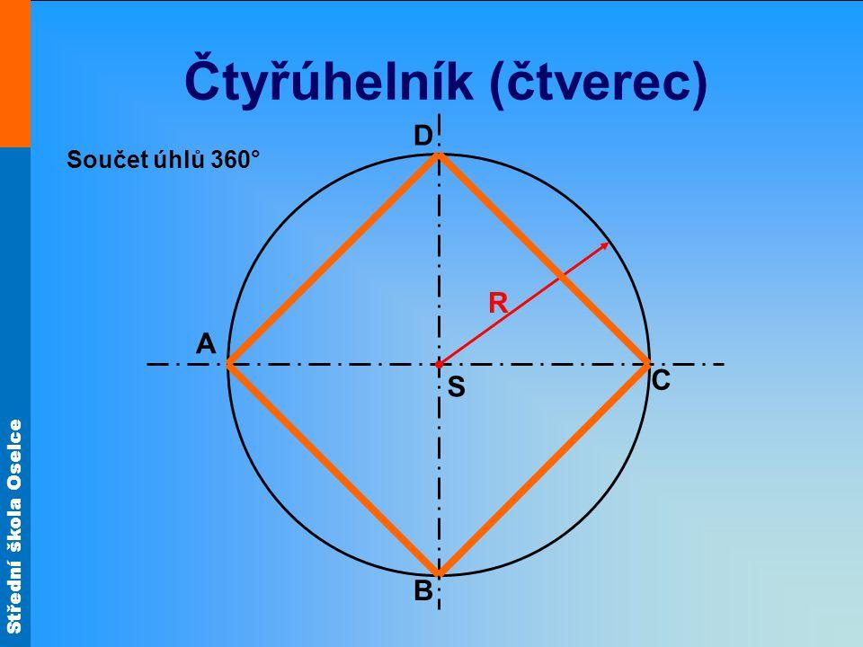 Střední škola Oselce Čtyřúhelník (čtverec) S D C A B R Součet úhlů 360°