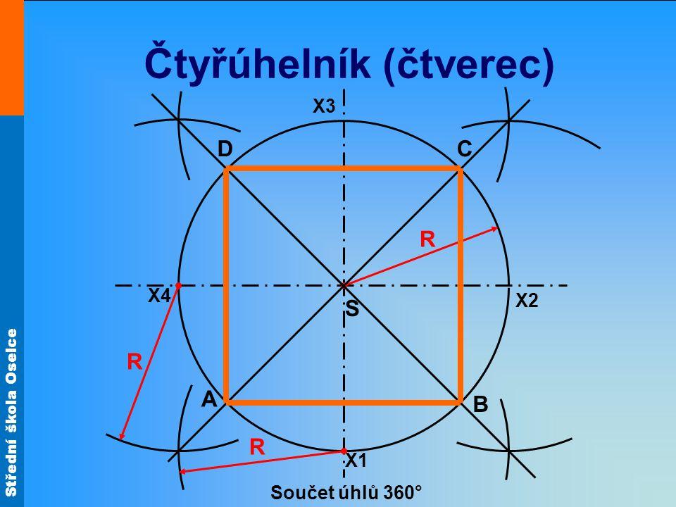 Střední škola Oselce Čtyřúhelník (čtverec) S X1 C A B R R D X2 X3 X4 Součet úhlů 360° R