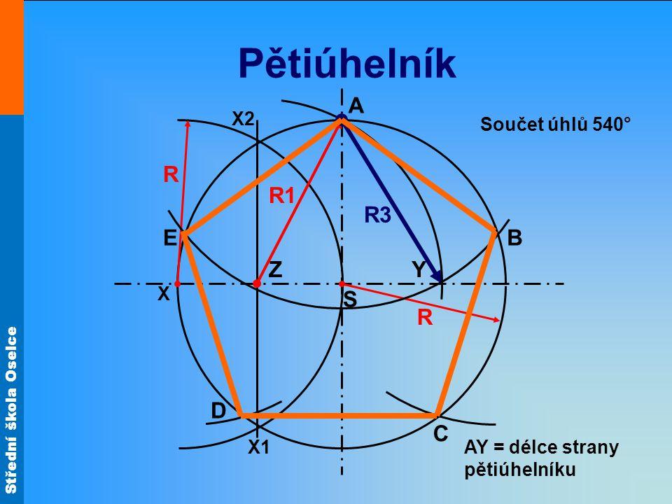 Střední škola Oselce Pětiúhelník S X A C B R R X2 X1 Y R1 R3 D E AY = délce strany pětiúhelníku Součet úhlů 540° Z