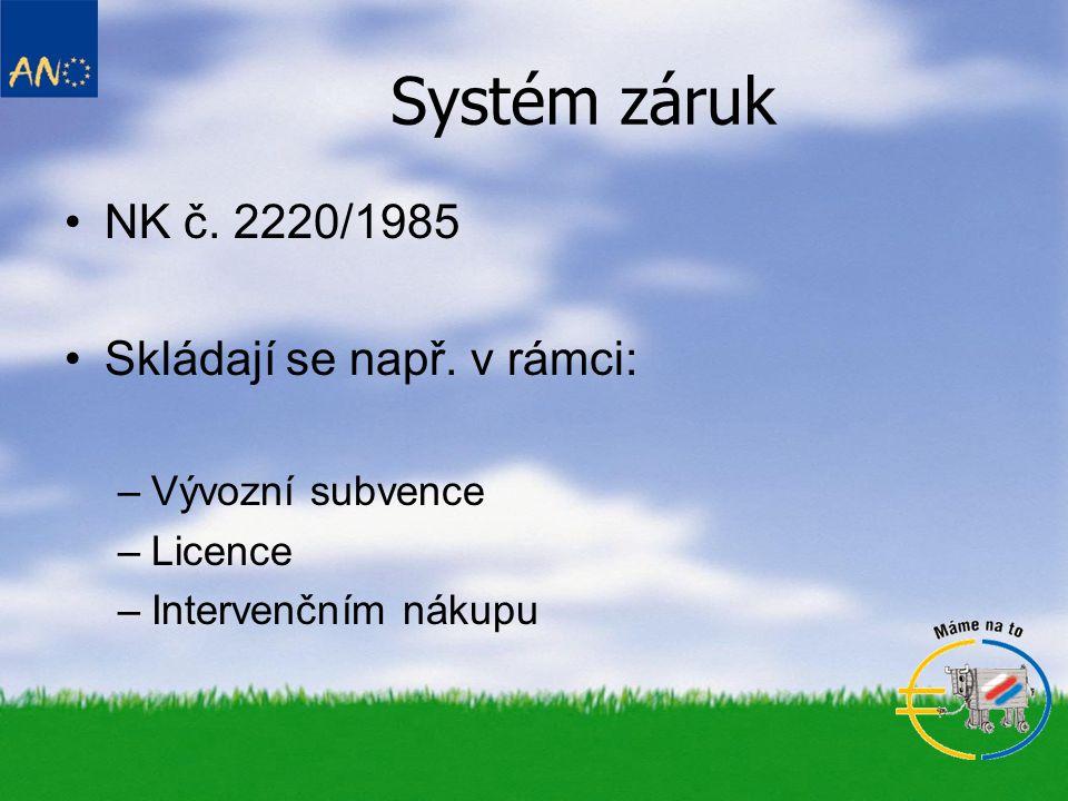 Systém záruk •NK č. 2220/1985 •Skládají se např.