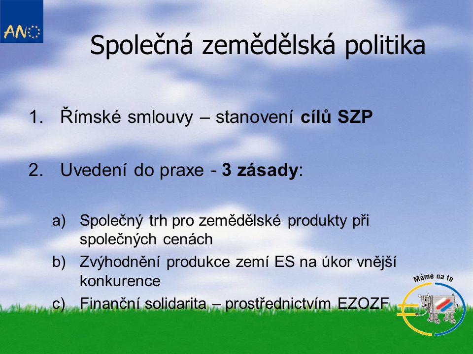 1.Římské smlouvy – stanovení cílů SZP 2.Uvedení do praxe - 3 zásady: a)Společný trh pro zemědělské produkty při společných cenách b)Zvýhodnění produkce zemí ES na úkor vnější konkurence c)Finanční solidarita – prostřednictvím EZOZF Společná zemědělská politika