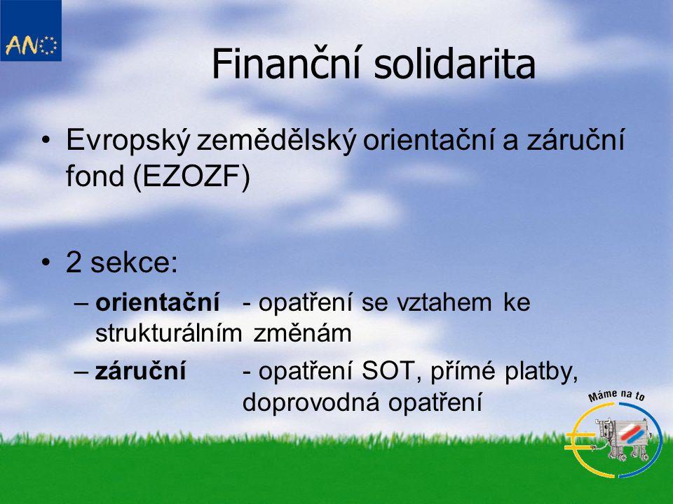 •NR č. 1258/1999 – o financování SZP –EZOZF –PA – SZIF Finanční solidarita