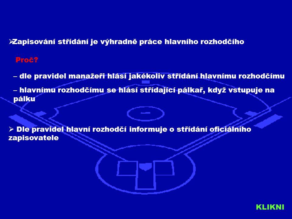 Věříme, že tento jednoduchý návod Vám pomohl pochopit pravidla o zapisování střídání do line-upu Neplnění těchto pravidel bude postihováno pokutou kterou budou postiženi všichni rozhodčí daného zápasu Vyplněný line-up včetně zapsaného střídání je nyní nedílnou součástí Zprávy o utkání a musí být odesílán společně se Zprávou o utkání na Sekretariát ČBA Komise rozhodčích ve spolupráci s ČBA bude provádět kontroly správnosti zapisování střídání do line-upu V případě dotazů kontaktujte členy Komise rozhodčích baseball@umpires.cz kteří Vám rádi pomohou KLIKNI PRO KONEC