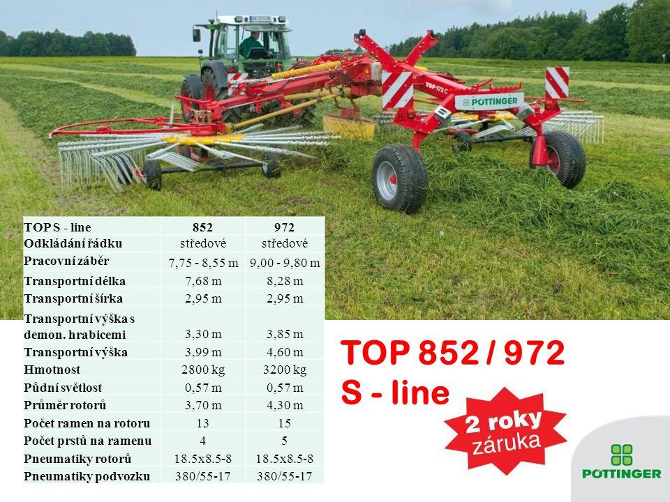 TOP 852 / 972 S - line TOP S - line852972 Odkládání řádkustředové Pracovní záběr 7,75 - 8,55 m9,00 - 9,80 m Transportní délka7,68 m8,28 m Transportní šírka2,95 m Transportní výška s demon.