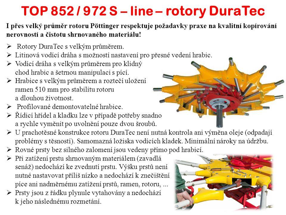 TOP 852 / 972 S – line – rotory DuraTec I přes velký průměr rotoru Pöttinger respektuje požadavky praxe na kvalitní kopírování nerovností a čistotu shrnovaného materiálu.