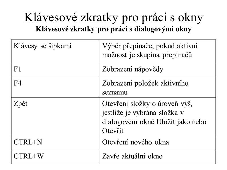Klávesové zkratky pro práci s okny Klávesové zkratky pro práci s dialogovými okny Klávesy se šipkamiVýběr přepínače, pokud aktivní možnost je skupina