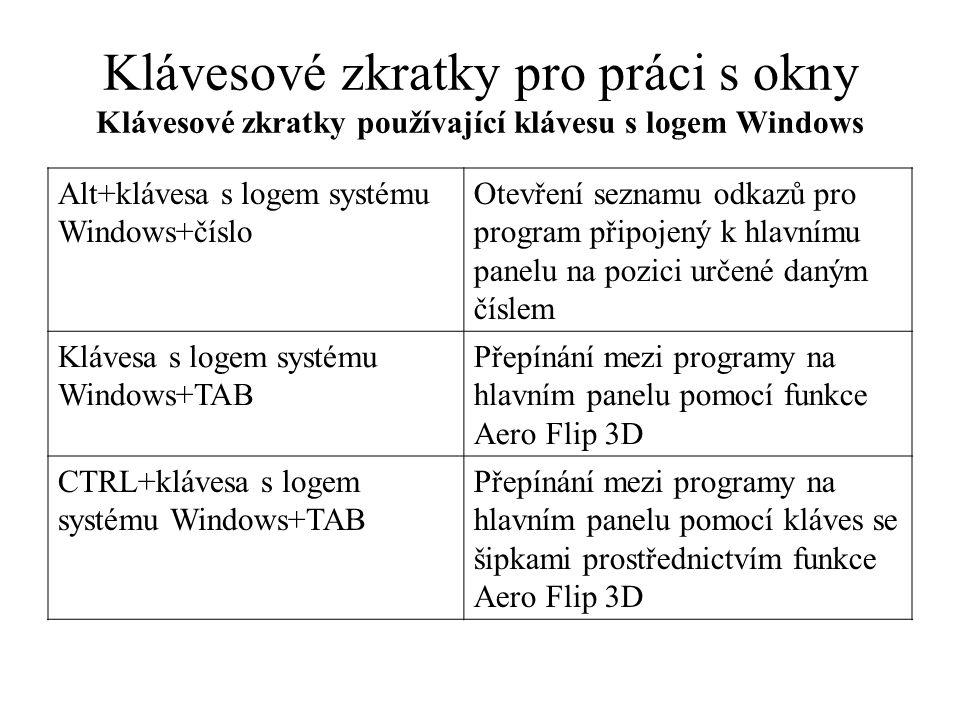 Klávesové zkratky pro práci s okny Klávesové zkratky používající klávesu s logem Windows Ctrl+klávesa s logem systému Windows+B Přepnutí na program, který zobrazil zprávu v oznamovací oblasti Klávesa s logem systému Windows+Mezerník Náhled plochy Klávesa s logem systému Windows +Šipka nahoru Maximalizace okna Klávesa s logem systému Windows +Šipka doleva Maximalizace okna v levé části obrazovky Klávesa s logem systému Windows +Šipka doprava Maximalizace okna v pravé části obrazovky.