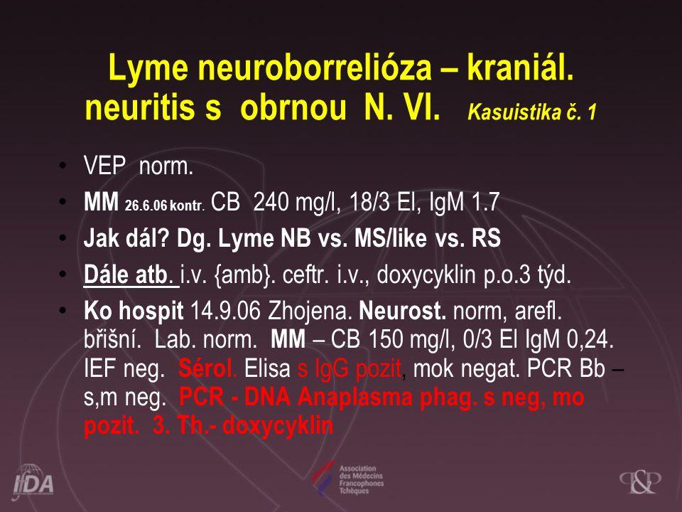 Lyme neuroborrelióza – kraniál. neuritis s obrnou N. VI. Kasuistika č. 1 • VEP norm. • MM 26.6.06 kontr. CB 240 mg/l, 18/3 El, IgM 1.7 • Jak dál? Dg.