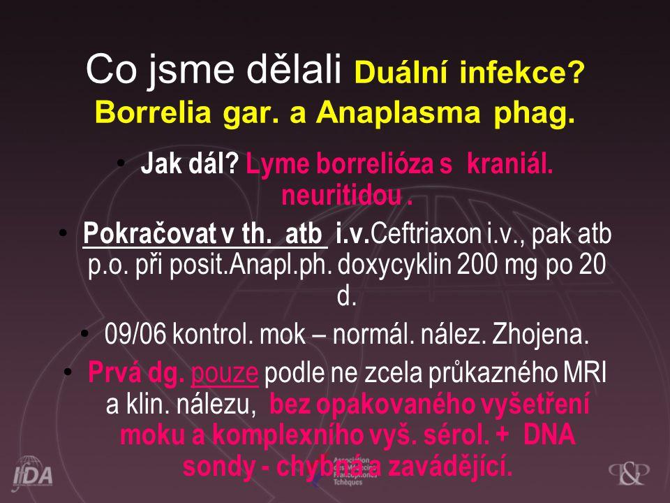 Co jsme dělali Duální infekce.Borrelia gar. a Anaplasma phag.