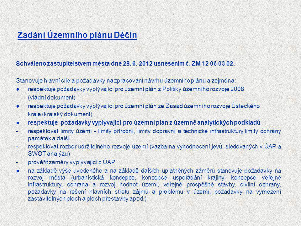 Schváleno zastupitelstvem města dne 28. 6. 2012 usnesením č. ZM 12 06 03 02. Stanovuje hlavní cíle a požadavky na zpracování návrhu územního plánu a z