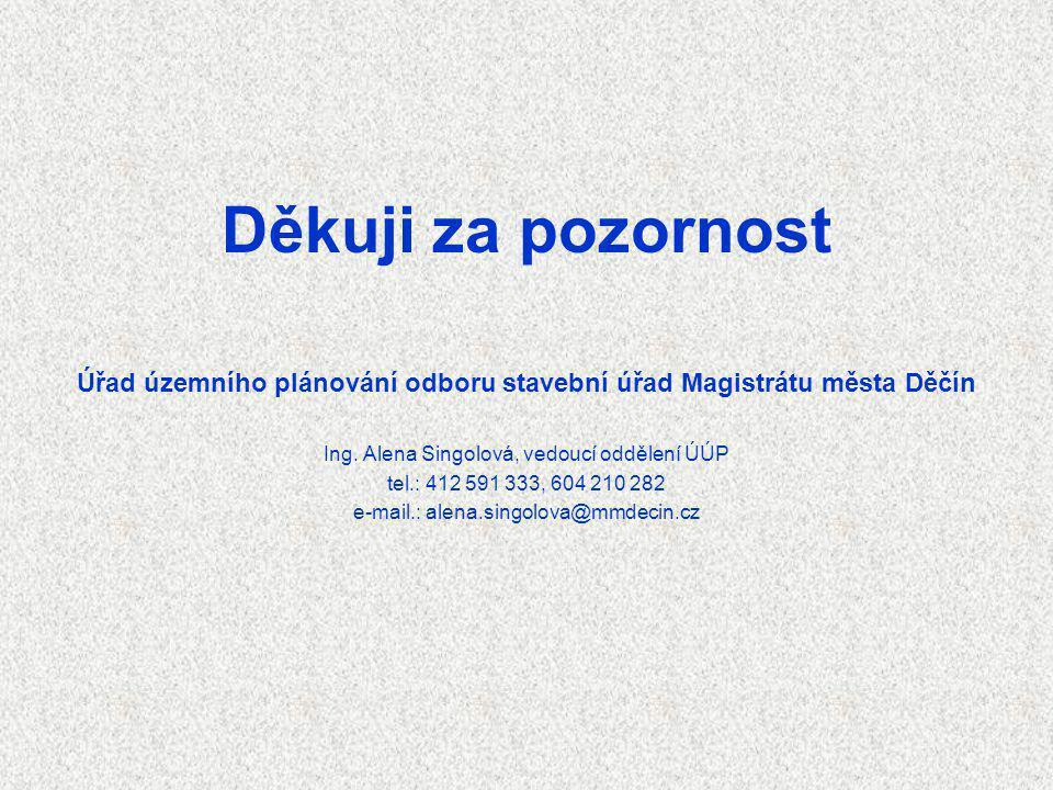 Děkuji za pozornost Úřad územního plánování odboru stavební úřad Magistrátu města Děčín Ing. Alena Singolová, vedoucí oddělení ÚÚP tel.: 412 591 333,