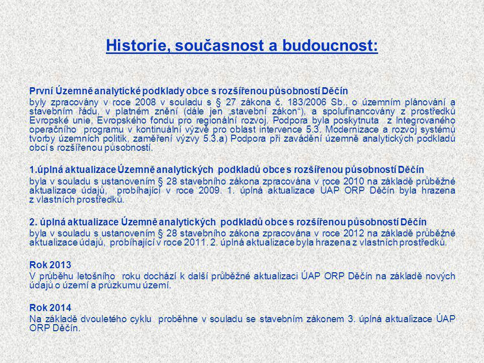 Historie, současnost a budoucnost: První Územně analytické podklady obce s rozšířenou působností Děčín byly zpracovány v roce 2008 v souladu s § 27 zá