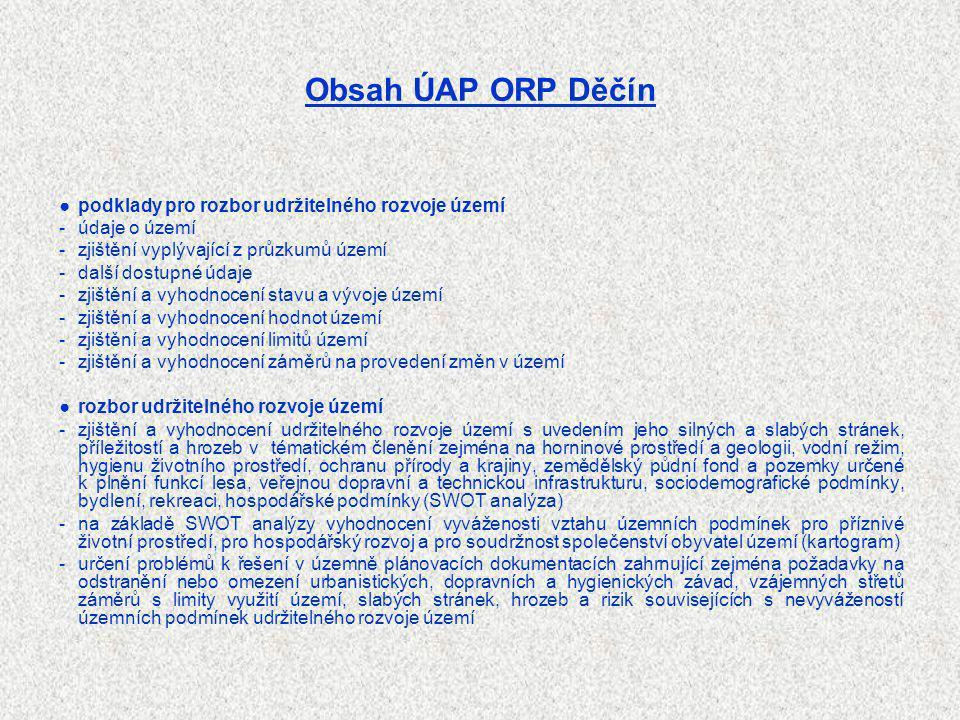 Obsah ÚAP ORP Děčín ●podklady pro rozbor udržitelného rozvoje území -údaje o území -zjištění vyplývající z průzkumů území -další dostupné údaje -zjišt