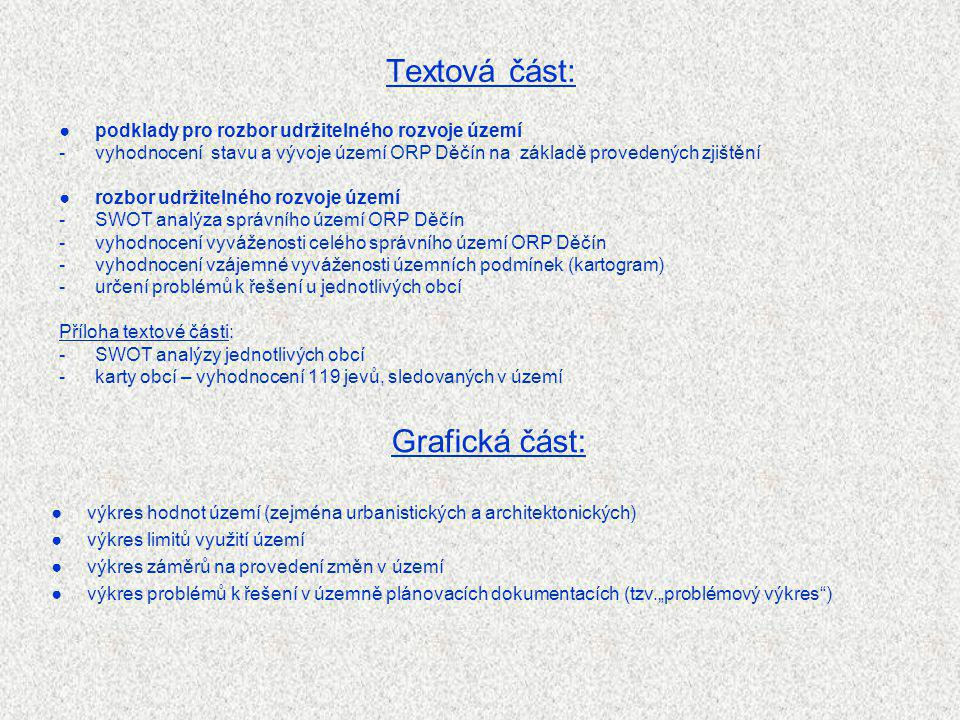 Textová část: ●podklady pro rozbor udržitelného rozvoje území -vyhodnocení stavu a vývoje území ORP Děčín na základě provedených zjištění ●rozbor udrž