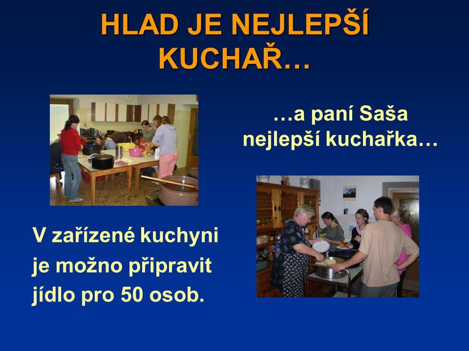 HLAD JE NEJLEPŠÍ KUCHAŘ… V zařízené kuchyni je možno připravit jídlo pro 50 osob.