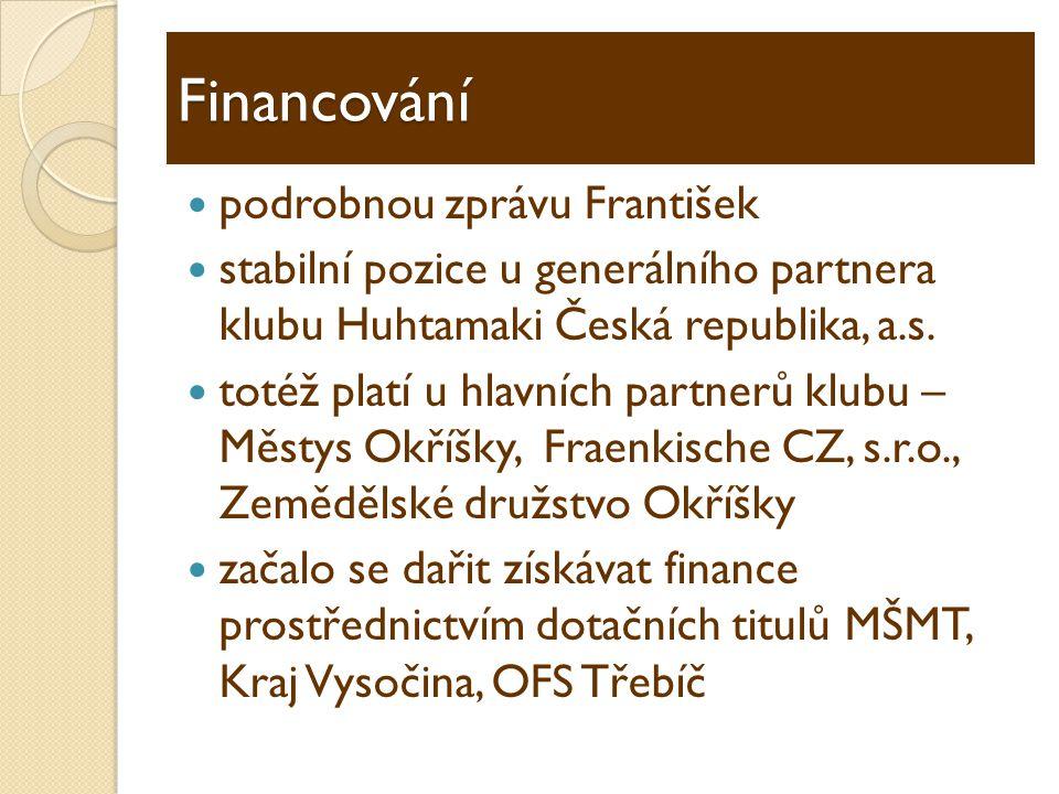 Financování  podrobnou zprávu František  stabilní pozice u generálního partnera klubu Huhtamaki Česká republika, a.s.