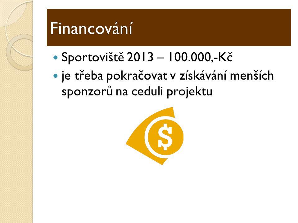  Sportoviště 2013 – 100.000,-Kč  je třeba pokračovat v získávání menších sponzorů na ceduli projektu Financování