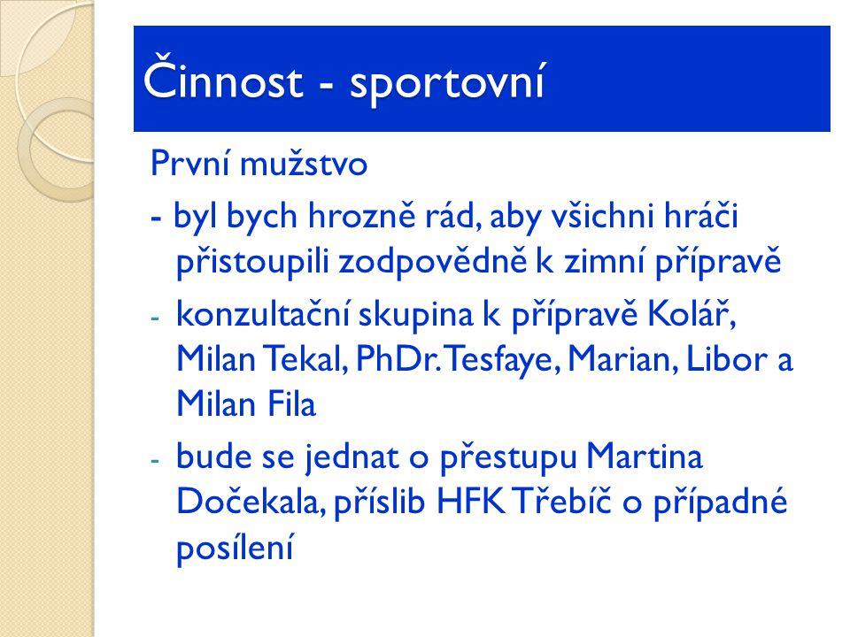 První mužstvo - byl bych hrozně rád, aby všichni hráči přistoupili zodpovědně k zimní přípravě - konzultační skupina k přípravě Kolář, Milan Tekal, PhDr.
