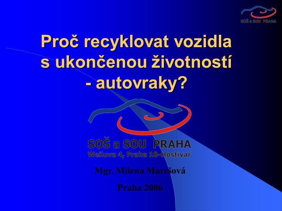 Proč recyklovat vozidla s ukončenou životností - autovraky Mgr. Milena Marešová Praha 2006
