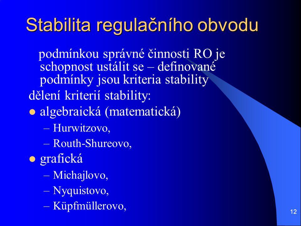 12 Stabilita regulačního obvodu podmínkou správné činnosti RO je schopnost ustálit se – definované podmínky jsou kriteria stability dělení kriterií st