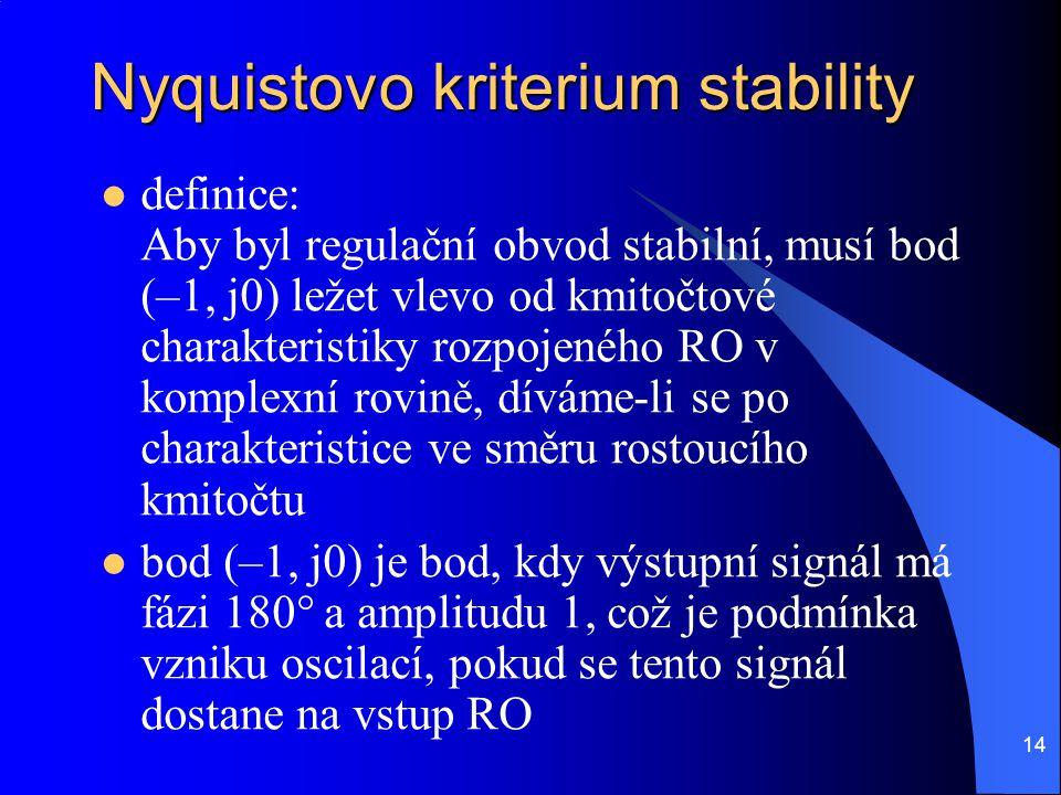 14 Nyquistovo kriterium stability  definice: Aby byl regulační obvod stabilní, musí bod (–1, j0) ležet vlevo od kmitočtové charakteristiky rozpojenéh