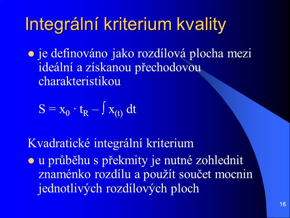 16 Integrální kriterium kvality  je definováno jako rozdílová plocha mezi ideální a získanou přechodovou charakteristikou S = x 0 ∙ t R – ∫ x (t) dt