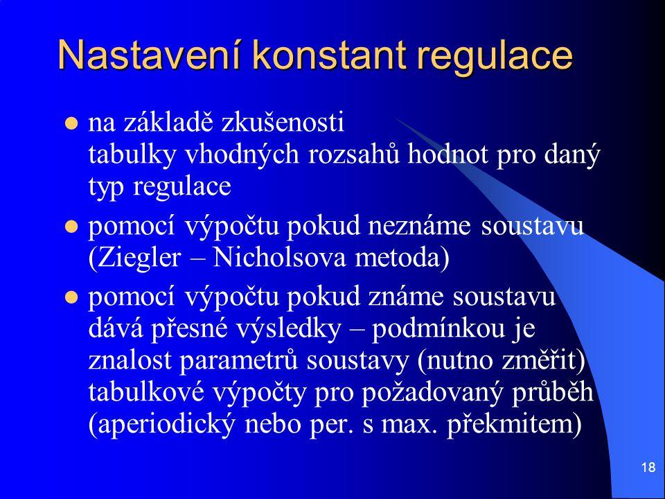 18 Nastavení konstant regulace  na základě zkušenosti tabulky vhodných rozsahů hodnot pro daný typ regulace  pomocí výpočtu pokud neznáme soustavu (