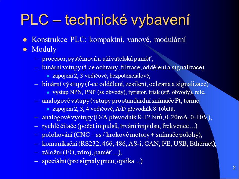 3 PLC – softwarové vybavení  Sady instrukcí pro specializované operace –logické (bit, byte, word), –funkce čítačů, časovačů, registrů, krokových řadičů –aritmetické (byt a word), –regulační PID, PWM, PLD..., –fuzzy logiky  firmware (BIOS) – režie systému,  cyklus PLC (aktualizace obrazu vstupů podle stavu vstupů, uživatelský program, aktualizace výstupů z obrazu výstupů, otočka cyklu)  uživatelský proces – cyklické vykonávání