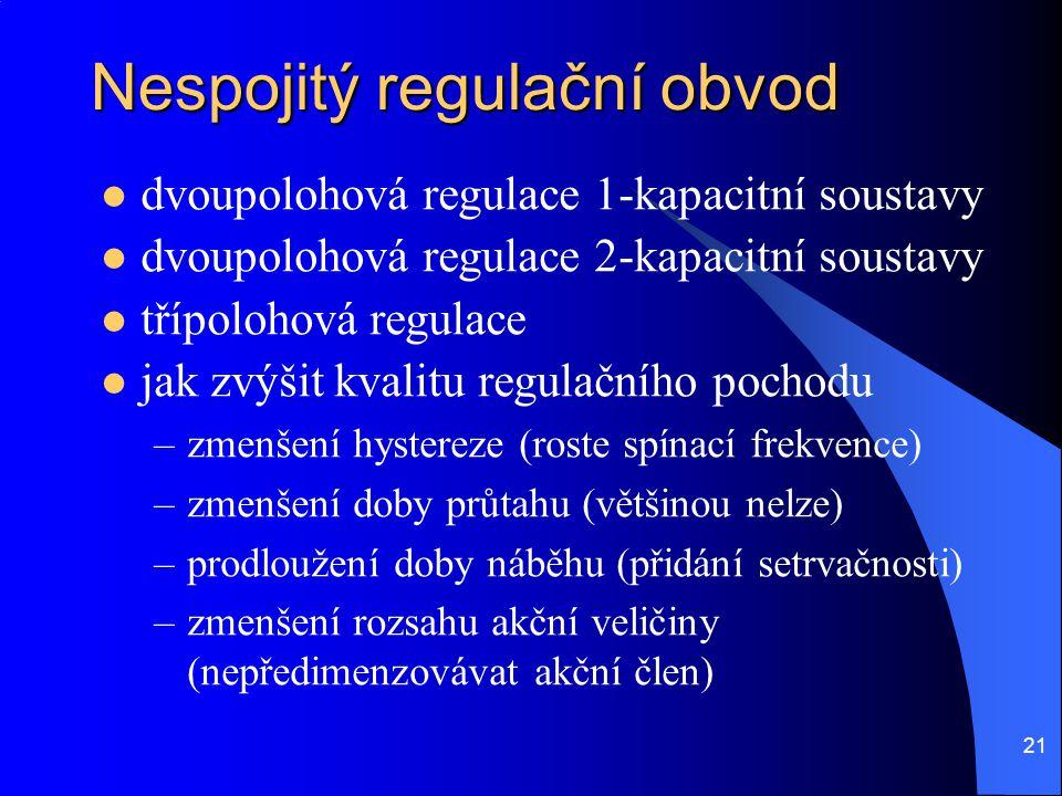 21 Nespojitý regulační obvod  dvoupolohová regulace 1-kapacitní soustavy  dvoupolohová regulace 2-kapacitní soustavy  třípolohová regulace  jak zv