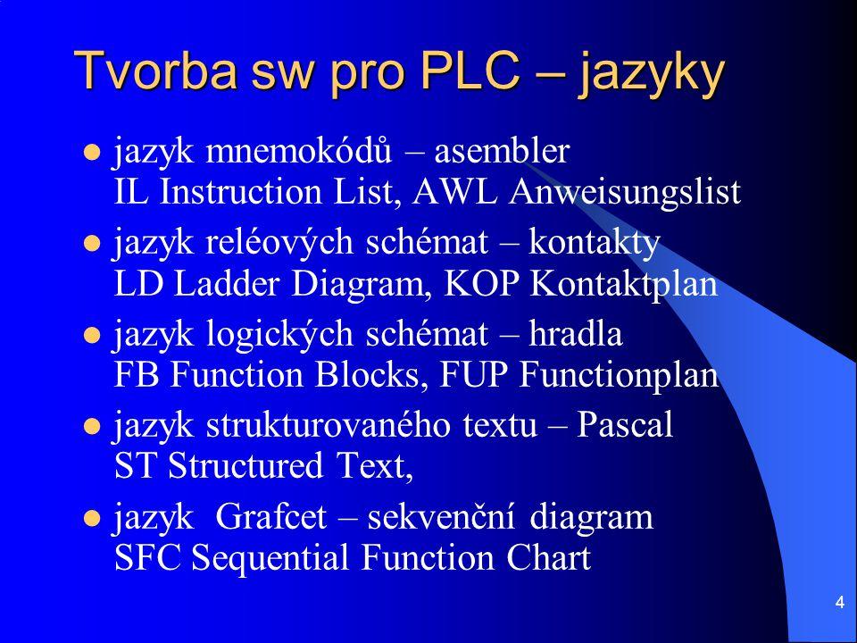 4 Tvorba sw pro PLC – jazyky  jazyk mnemokódů – asembler IL Instruction List, AWL Anweisungslist  jazyk reléových schémat – kontakty LD Ladder Diagr