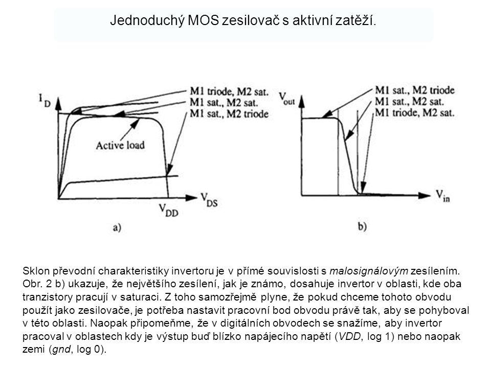 Jednoduchý MOS zesilovač s aktivní zatěží. Sklon převodní charakteristiky invertoru je v přímé souvislosti s malosignálovým zesílením. Obr. 2 b) ukazu