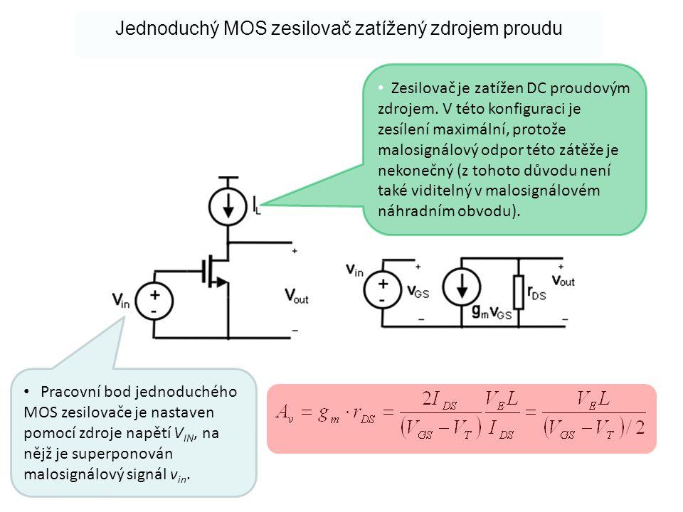 Jednoduchý MOS zesilovač zatížený zdrojem proudu • Pracovní bod jednoduchého MOS zesilovače je nastaven pomocí zdroje napětí V IN, na nějž je superpon