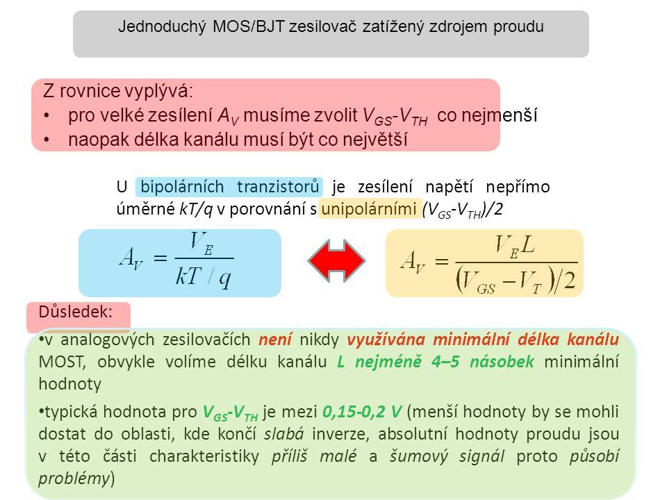 Z rovnice vyplývá: •pro velké zesílení A V musíme zvolit V GS -V TH co nejmenší •naopak délka kanálu musí být co největší Důsledek: • v analogových ze