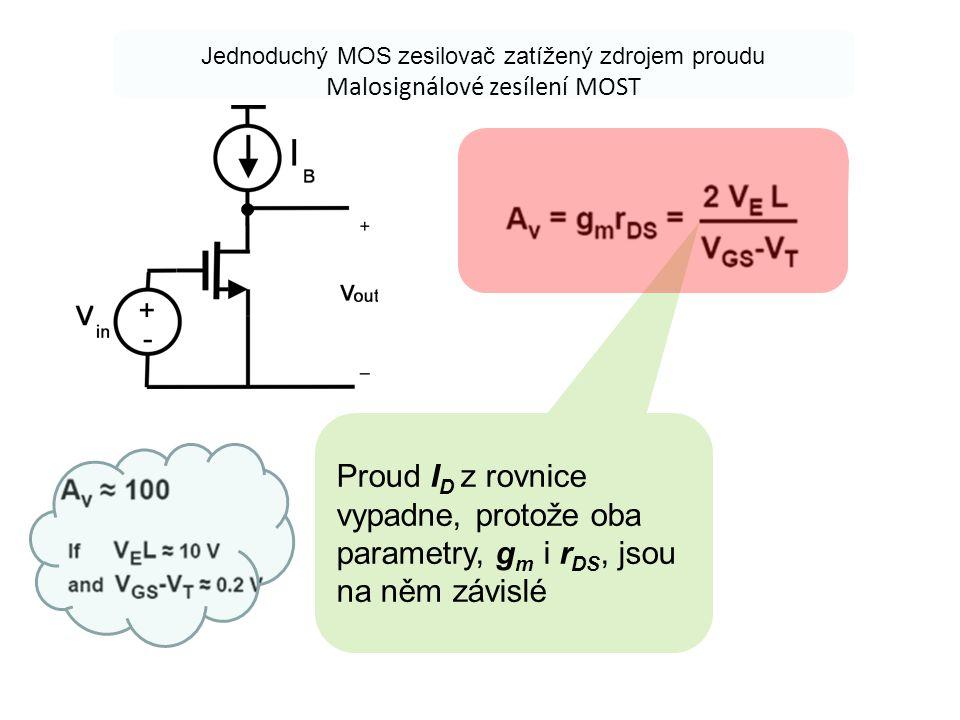 Jednoduchý MOS zesilovač zatížený zdrojem proudu Malosignálové zesílení MOST Proud I D z rovnice vypadne, protože oba parametry, g m i r DS, jsou na n