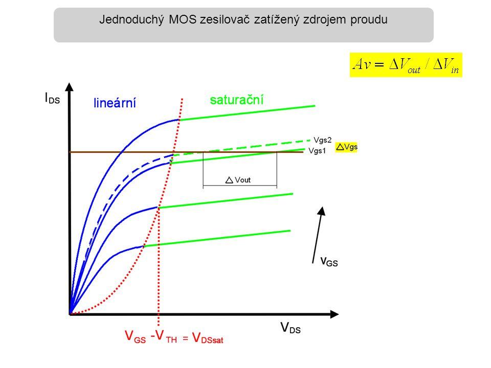 Jednoduchý MOS zesilovač zatížený zdrojem proudu