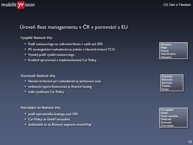 12 Úroveň fleet managementu v ČR v porovnání s EU O2 Den s Fleetem Vyspělé fleetové trhy • Podíl outsourcingu na celkovém fleetu v vyšší než 50% • Při