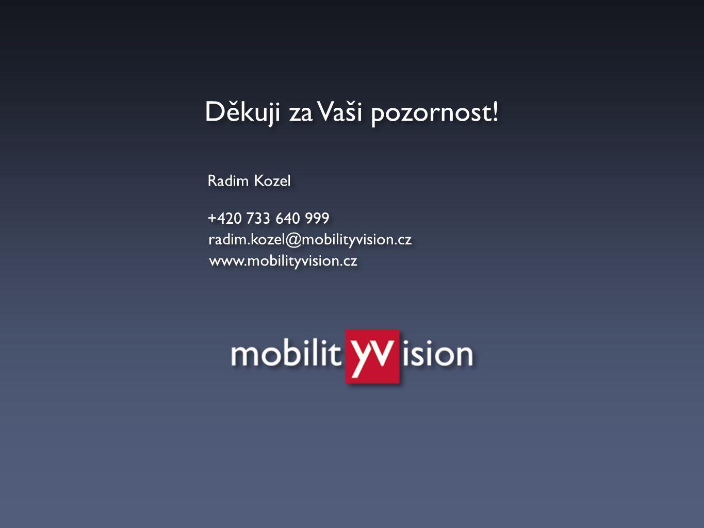 Radim Kozel Děkuji za Vaši pozornost! radim.kozel@mobilityvision.cz +420 733 640 999 www.mobilityvision.cz