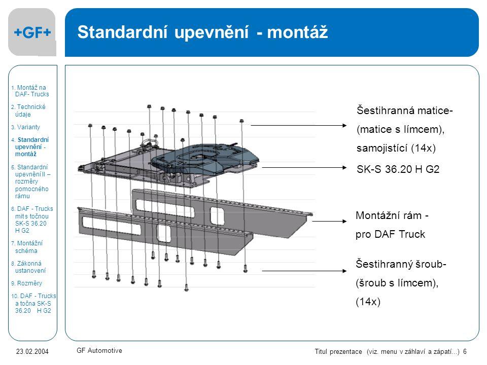 Titul prezentace (viz. menu v záhlaví a zápatí...) 6 23.02.2004 GF Automotive Standardní upevnění - montáž Šestihranná matice- (matice s límcem), samo