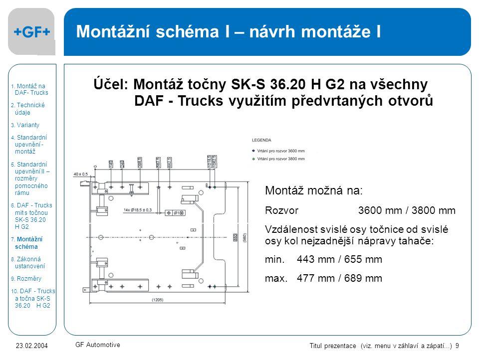 Titul prezentace (viz. menu v záhlaví a zápatí...) 9 23.02.2004 GF Automotive Účel: Montáž točny SK-S 36.20 H G2 na všechny DAF - Trucks využitím před