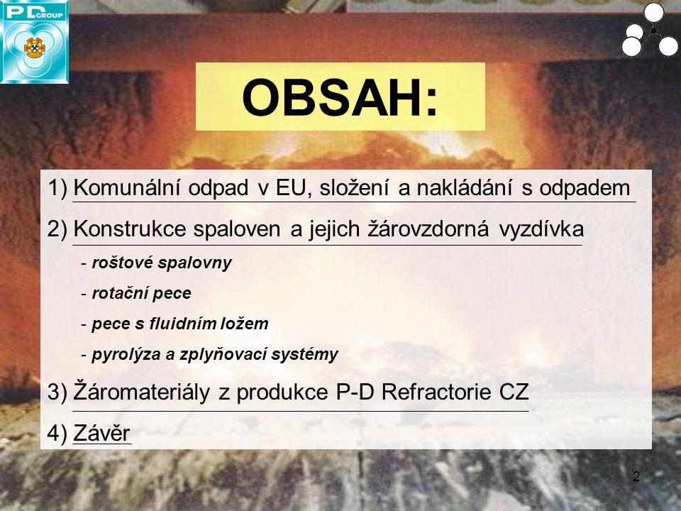 2 OBSAH: 1) Komunální odpad v EU, složení a nakládání s odpadem 2) Konstrukce spaloven a jejich žárovzdorná vyzdívka - roštové spalovny - rotační pece