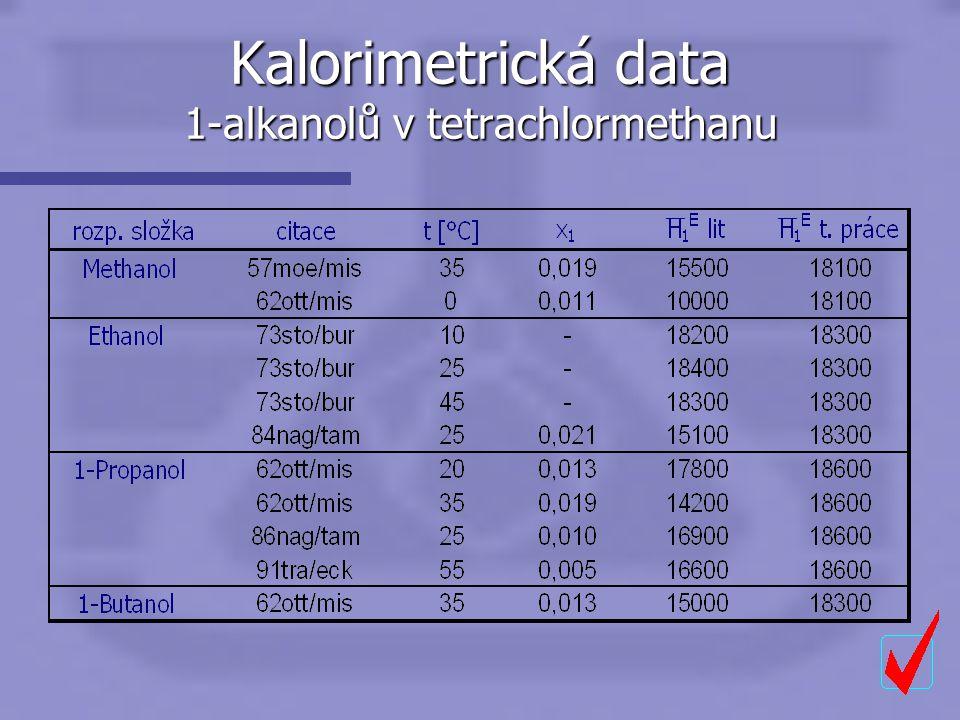 Kalorimetrická data 1-alkanolů v tetrachlormethanu ——