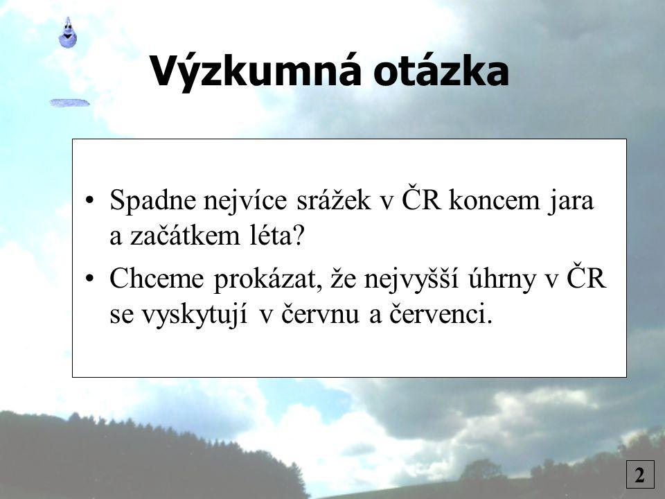 Výzkumná otázka 2 •Spadne nejvíce srážek v ČR koncem jara a začátkem léta.