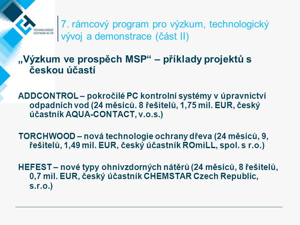 """7. rámcový program pro výzkum, technologický vývoj a demonstrace (část II) """"Výzkum ve prospěch MSP"""" – příklady projektů s českou účastí ADDCONTROL – p"""