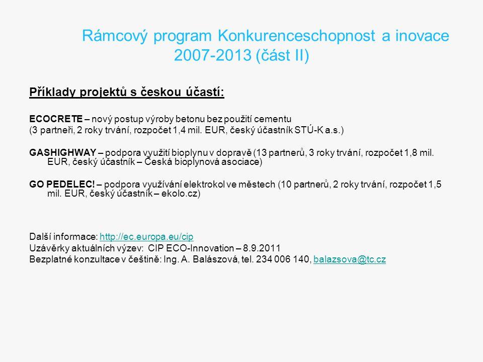 Rámcový program Konkurenceschopnost a inovace 2007-2013 (část II) Příklady projektů s českou účastí: ECOCRETE – nový postup výroby betonu bez použití cementu (3 partneři, 2 roky trvání, rozpočet 1,4 mil.