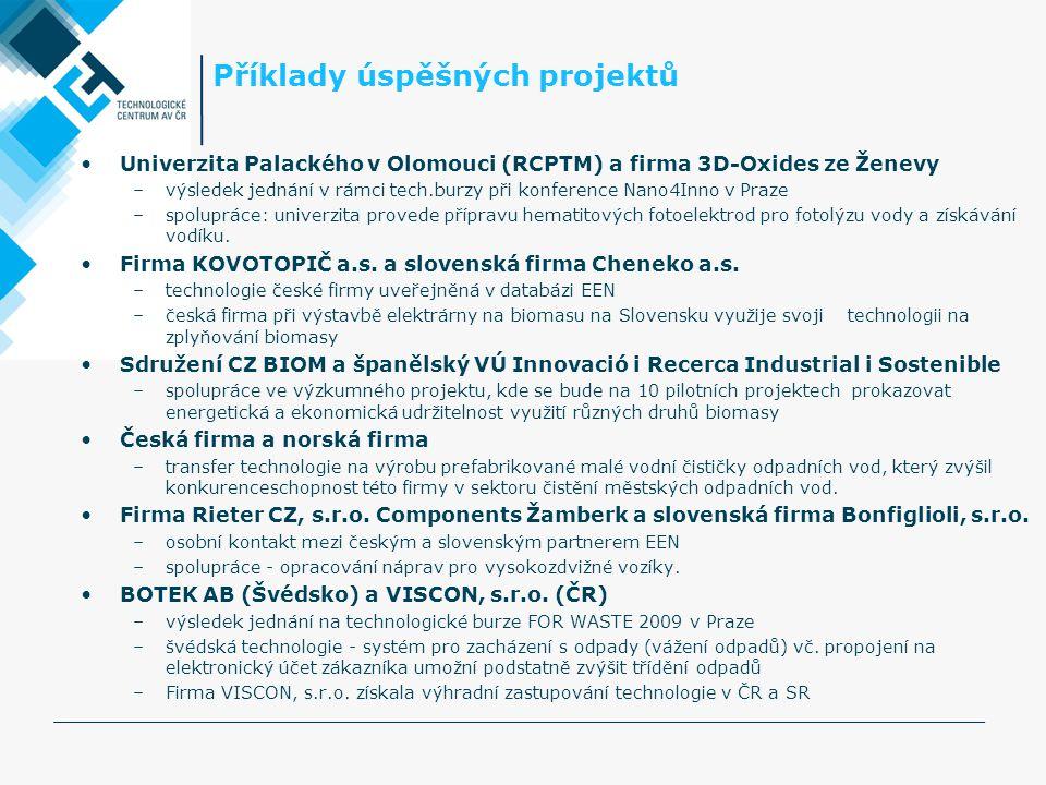 Příklady úspěšných projektů •Univerzita Palackého v Olomouci (RCPTM) a firma 3D-Oxides ze Ženevy –výsledek jednání v rámci tech.burzy při konference Nano4Inno v Praze –spolupráce: univerzita provede přípravu hematitových fotoelektrod pro fotolýzu vody a získávání vodíku.