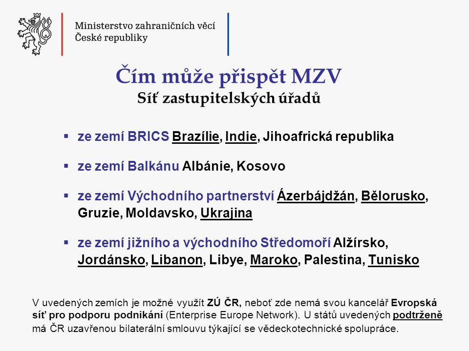 Čím může přispět MZV Síť zastupitelských úřadů  ze zemí BRICS Brazílie, Indie, Jihoafrická republika  ze zemí Balkánu Albánie, Kosovo  ze zemí Východního partnerství Ázerbájdžán, Bělorusko, Gruzie, Moldavsko, Ukrajina  ze zemí jižního a východního Středomoří Alžírsko, Jordánsko, Libanon, Libye, Maroko, Palestina, Tunisko V uvedených zemích je možné využít ZÚ ČR, neboť zde nemá svou kancelář Evropská síť pro podporu podnikání (Enterprise Europe Network).