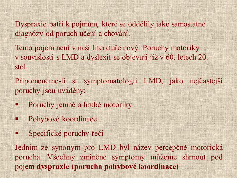 Dyspraxie patří k pojmům, které se oddělily jako samostatné diagnózy od poruch učení a chování.