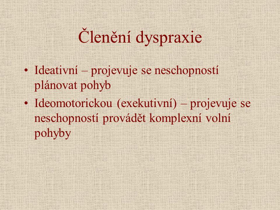 Členění dyspraxie •Ideativní – projevuje se neschopností plánovat pohyb •Ideomotorickou (exekutivní) – projevuje se neschopností provádět komplexní volní pohyby
